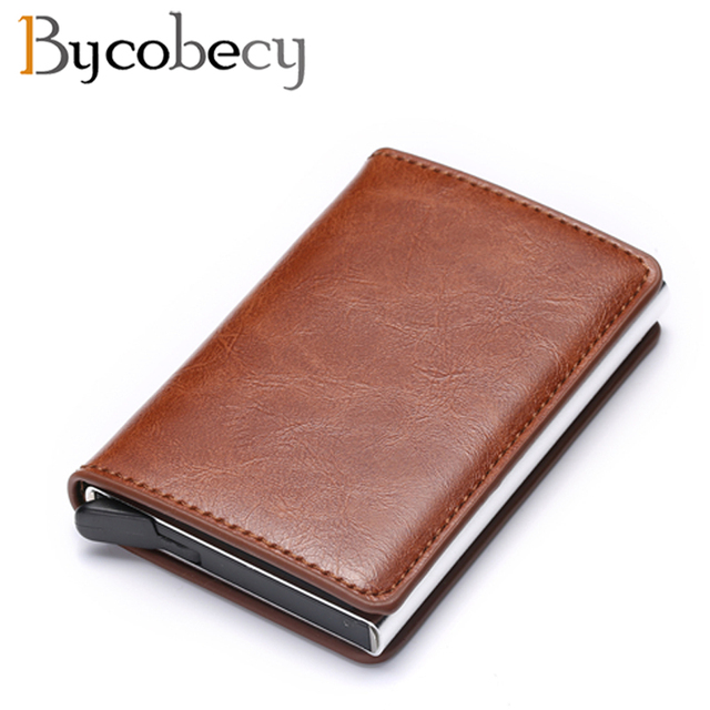 Bycobecy Credit Card Holder Wallet Men Women Metal RFID Vintage Aluminium Bag Crazy Horse PU Leather Bank Cardholder Case New 2