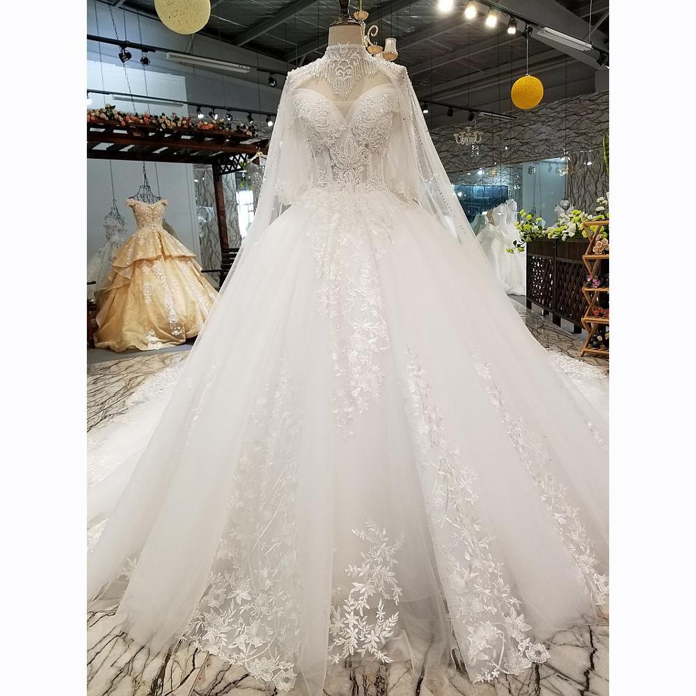 Muslim Luxury Wedding Dresses With Corset Vestidos De Novia Lace Princess Ball Gown Dubai Wedding Dresses New 2020