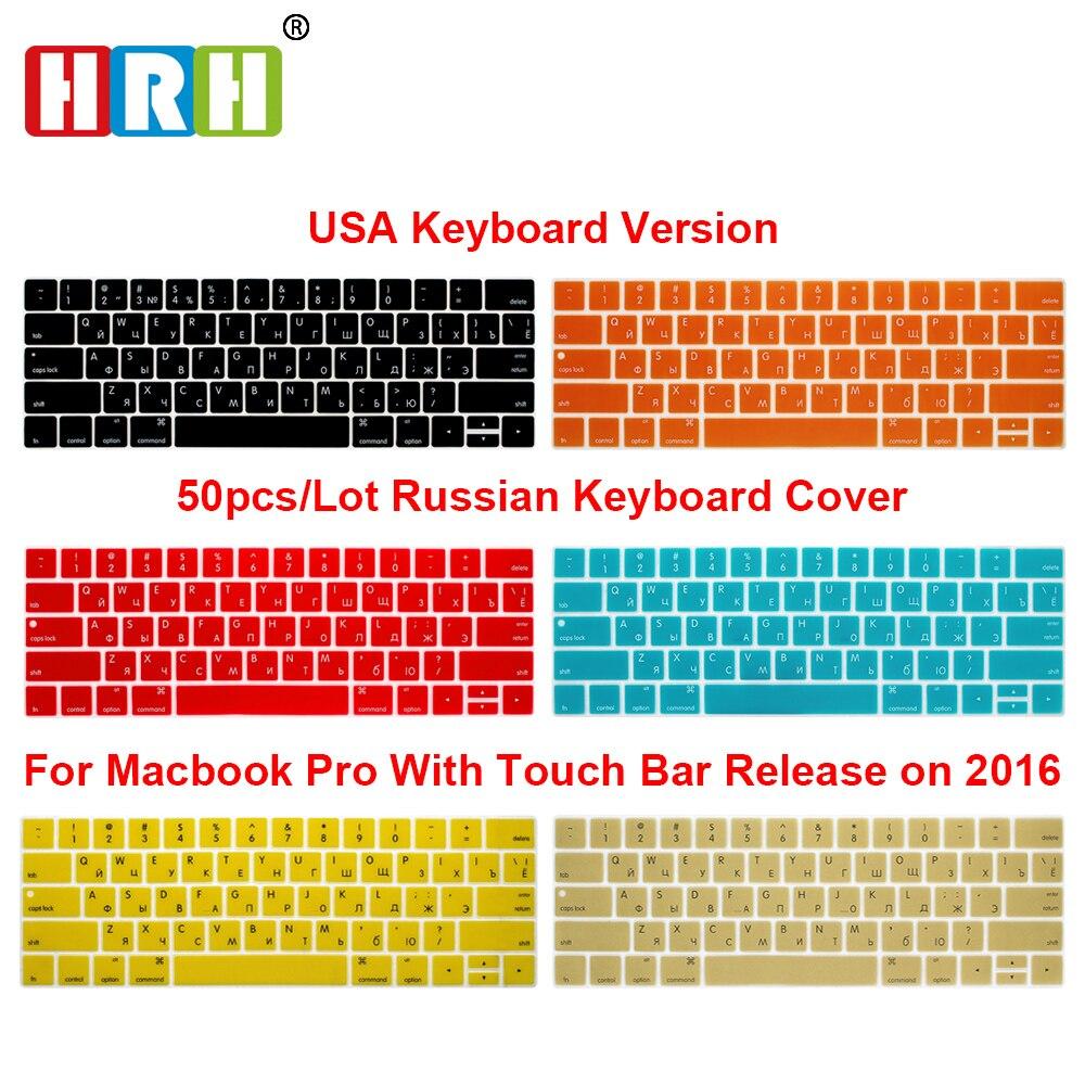 """HRH vente en gros 50pcs USA couverture de clavier en Silicone russe pour Mac Pro 13 """"A1706 Pro 15"""" A1707 Touch Bar Release2016/2017/2018/2019"""