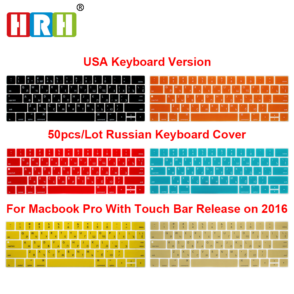 HRH Wholesale 50pcs USA Russian Silicone Keyboard Cover For Mac Pro 13A1706 Pro 15 A1707 Touch Bar Release2016/2017/2018/2019 image