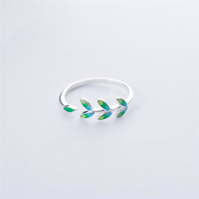 Green Leaf Handmade Creative 925 Sterling Silver Temperament Personality Fashion Female Trendy Resizable Opening Rings SRI028