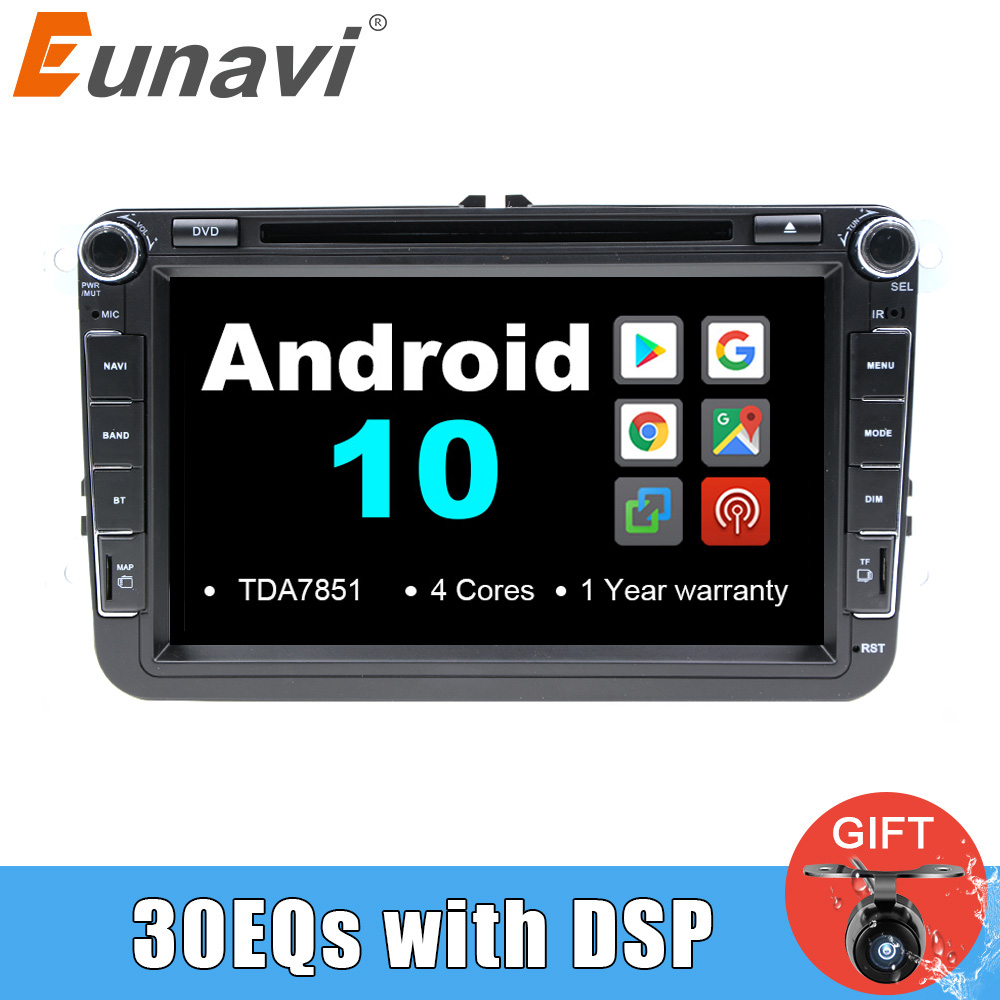 Eunavi 2 Din Car GPS <font><b>Multimedia</b></font> Radio Player Android For VW <font><b>Golf</b></font> 5 <font><b>6</b></font> Polo Passat b6 b7 CC Seat leon Skoda Octavia Jetta Tiguan image