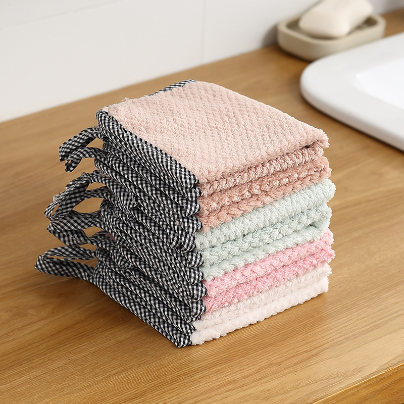 Details about  /Dish Towel Microfiber Absorbent Thicker Cleaning Wiping Rag Sink Coral Fleece