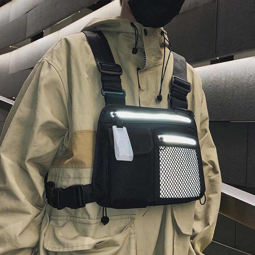 Saco de peito masculino multifuncional pacote colete streetwear rig sacos esportes ao ar livre caminhadas acampamento bolsa do telefone reflexivo ciclismo colete
