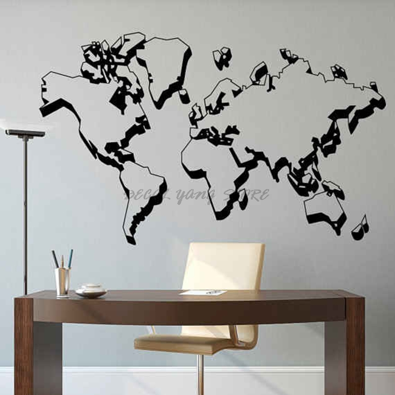 Removable Mural Wallpaper House Big Size Wall Sticker World Map Home Decor Living Room Bedroom Vinyl Art Decals Atlas B2-035 image