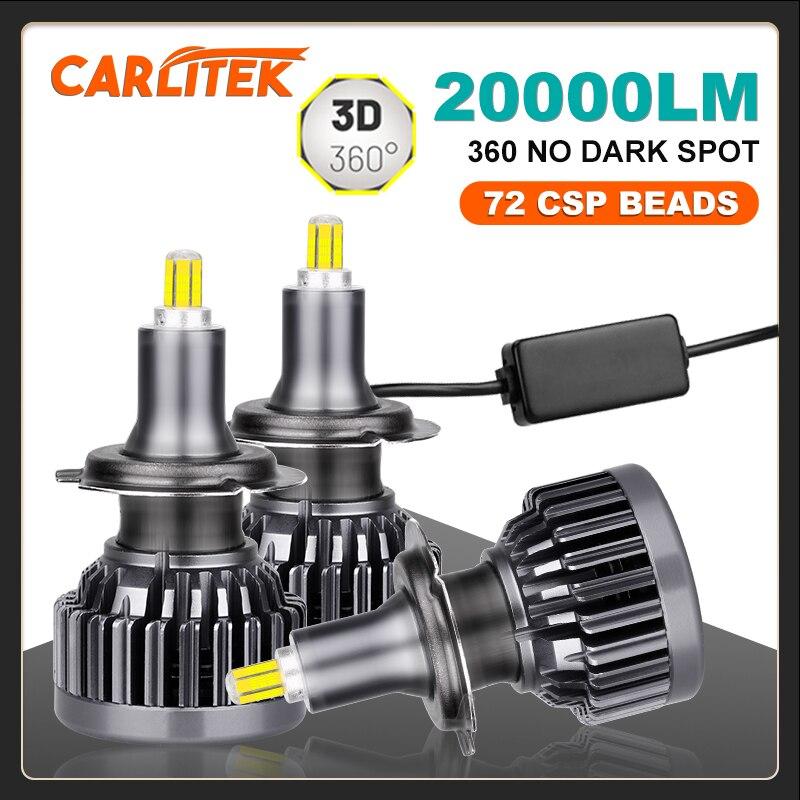 CARLITEK H7 Led Lights 20000LM H1 H8 H9 H11 Car Lamps For Auto 360 Degree HB3 9005 HB4 9006 Light Bulbs On Car Turbo Universal