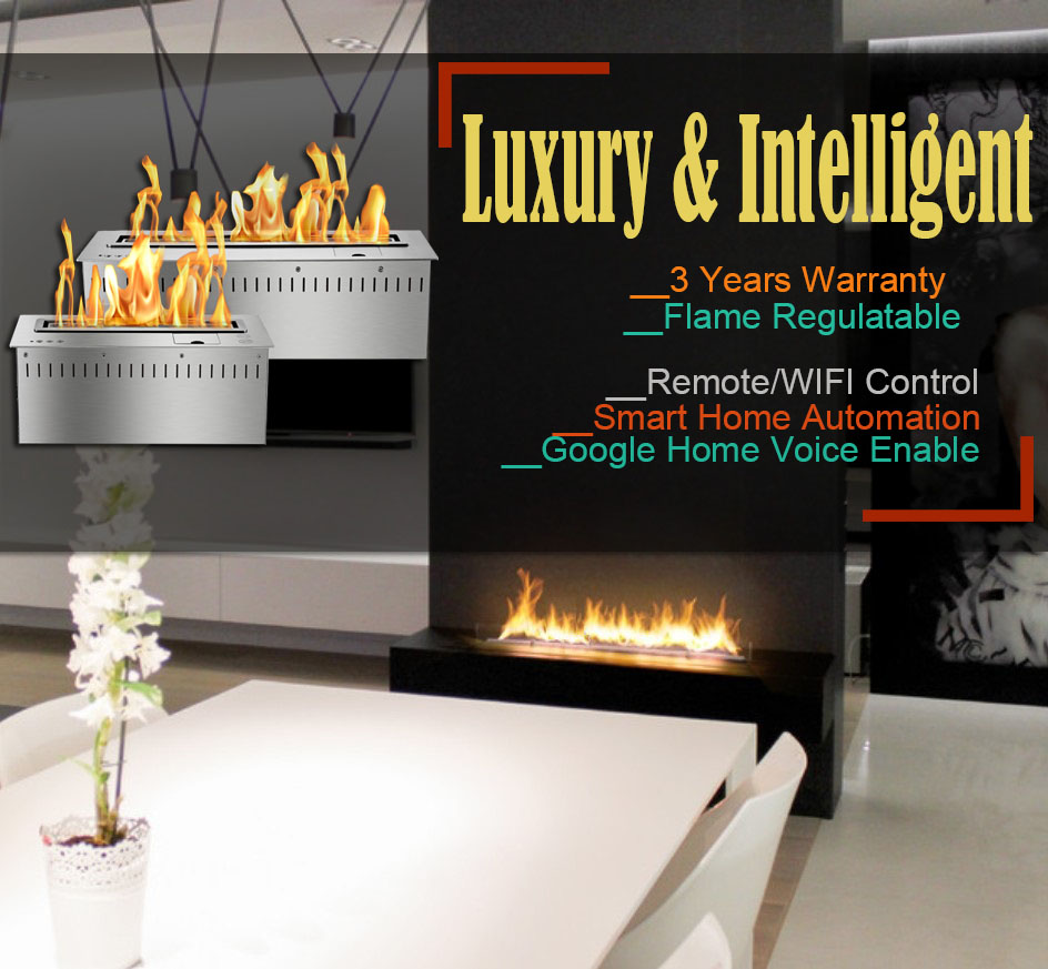 Hot Sale 72 Inches Wifi Real Fire Indoor Intelligent Smart Wall Fire Ethanol Indoor Fireplace