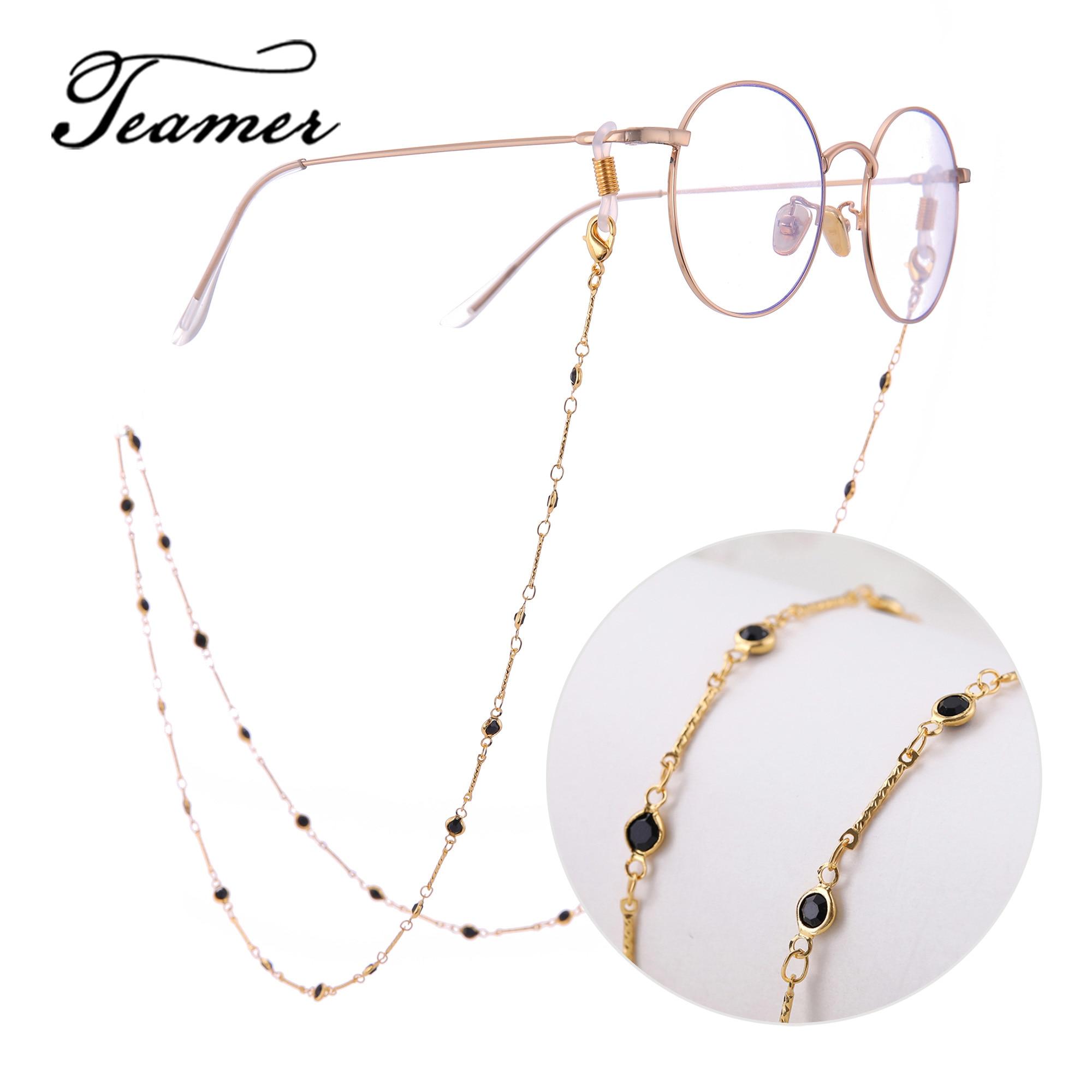 Teamer 78cm Fashion Sunglasses Lanyard Strap Necklace  Metal Eyeglass Black Crystal Glasses Chain Cord For Women Men