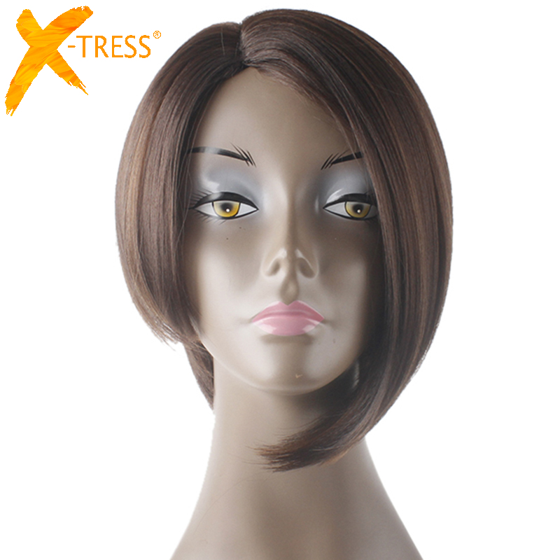 Short Straight Bob Wigs Side Part High Temperature Fiber Hairpiece X-TRESS Ombre Color Synthetic Layered Wig For Black Women