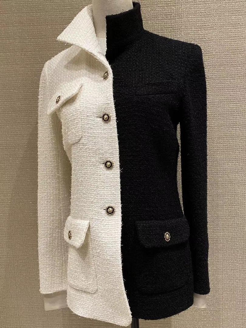 Runway Jacket and Coat For Women 2021 Autumn Winter White Black Patchwork Tweed Jacket chic Elegant Woolen Coat Outwear