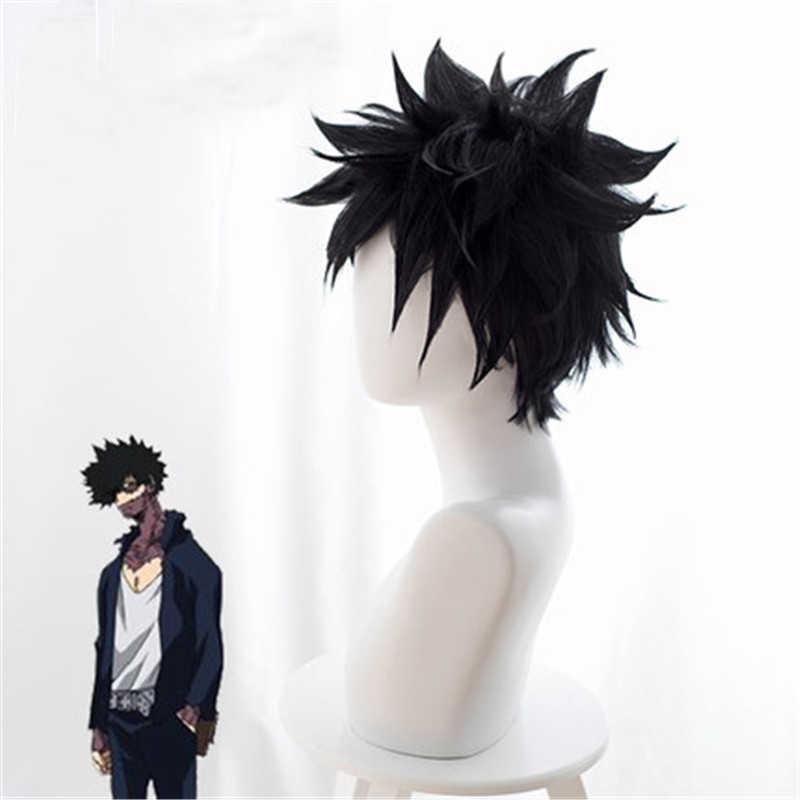 Anime My Hero Academia Dabi peruk Cosplay kostüm Boku hiçbir kahraman Academia kısa siyah sentetik saç cadılar bayramı partisi peruk