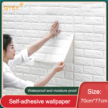Self adhesive Waterproof TV Background Brick Wallpapers 3D Wall Sticker Living Room Wallpaper Mural Bedroom Decorative 70*77 image