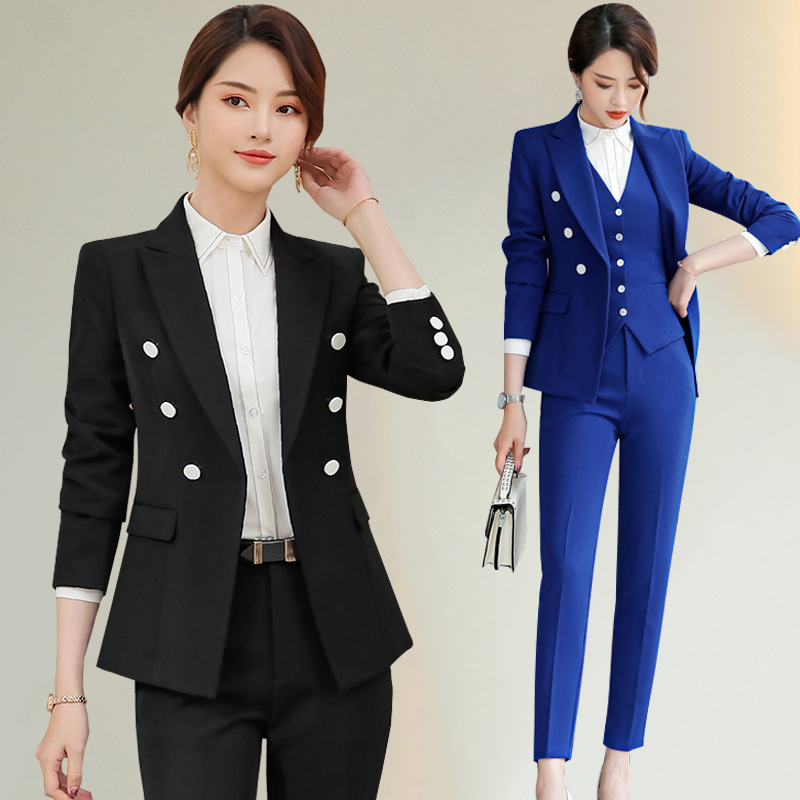 2019 Spring And Autumn New Style Business Vest Suit Women's Classic Style Double Breasted Long Sleeve Ol Elegant Commuting Workw