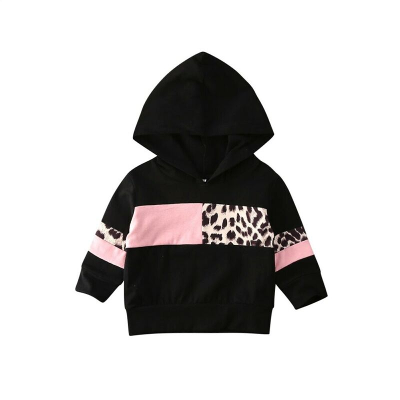 6M-5Years Toddler Kids Baby Girl Hooded Sweatshirts Tops Leopard Patchwork Hoodies Spring Fall Clothes