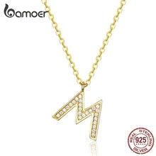 Bamoer модное ожерелье с буквой M алфавит для женщин CZ проложили Золото Цвет 925 пробы серебро панк хип-хоп ювелирные изделия BSN113