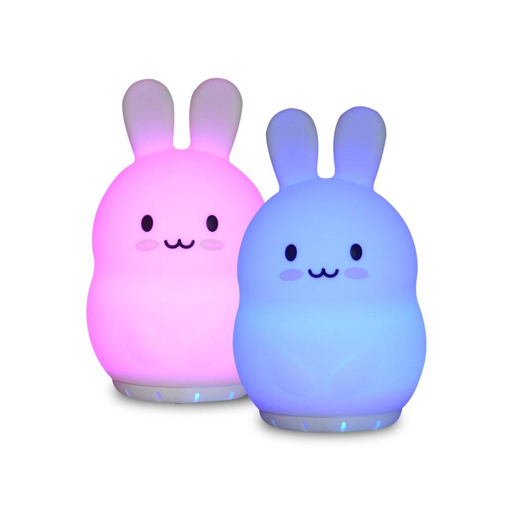 Rabbit Music Lamp Wireless Bluetooth Speaker Music Player USB Cartoon Silicone Bunny RGB LED Night Light For Children Kids Baby