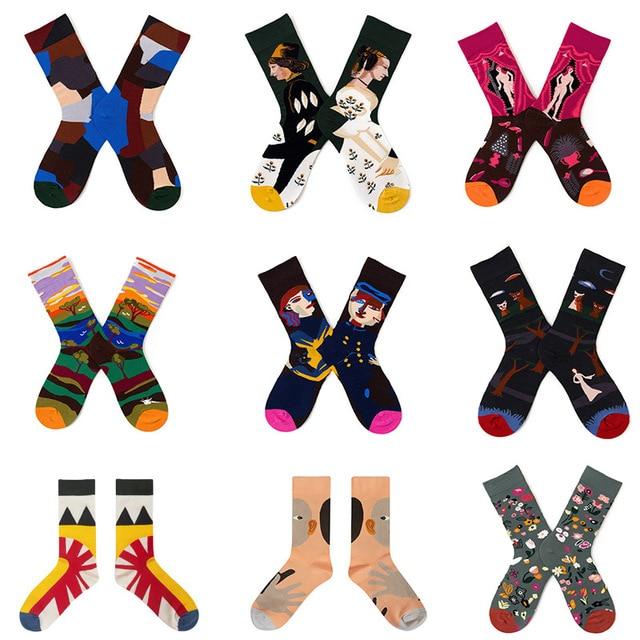 Chaussettes en coton pour hommes et femmes, 1 paire, Style rétro, respirantes, chaussettes du milieu, motif de dessin animé, multicolore pour Couples, robe