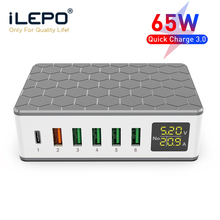 ILEPO cargador rápido para iPhone 12 11 Pro QC3.0, estación de carga USB de 6 puertos, 65W PD, para Samsung, Sony, Huawei, cargador de escritorio Digital