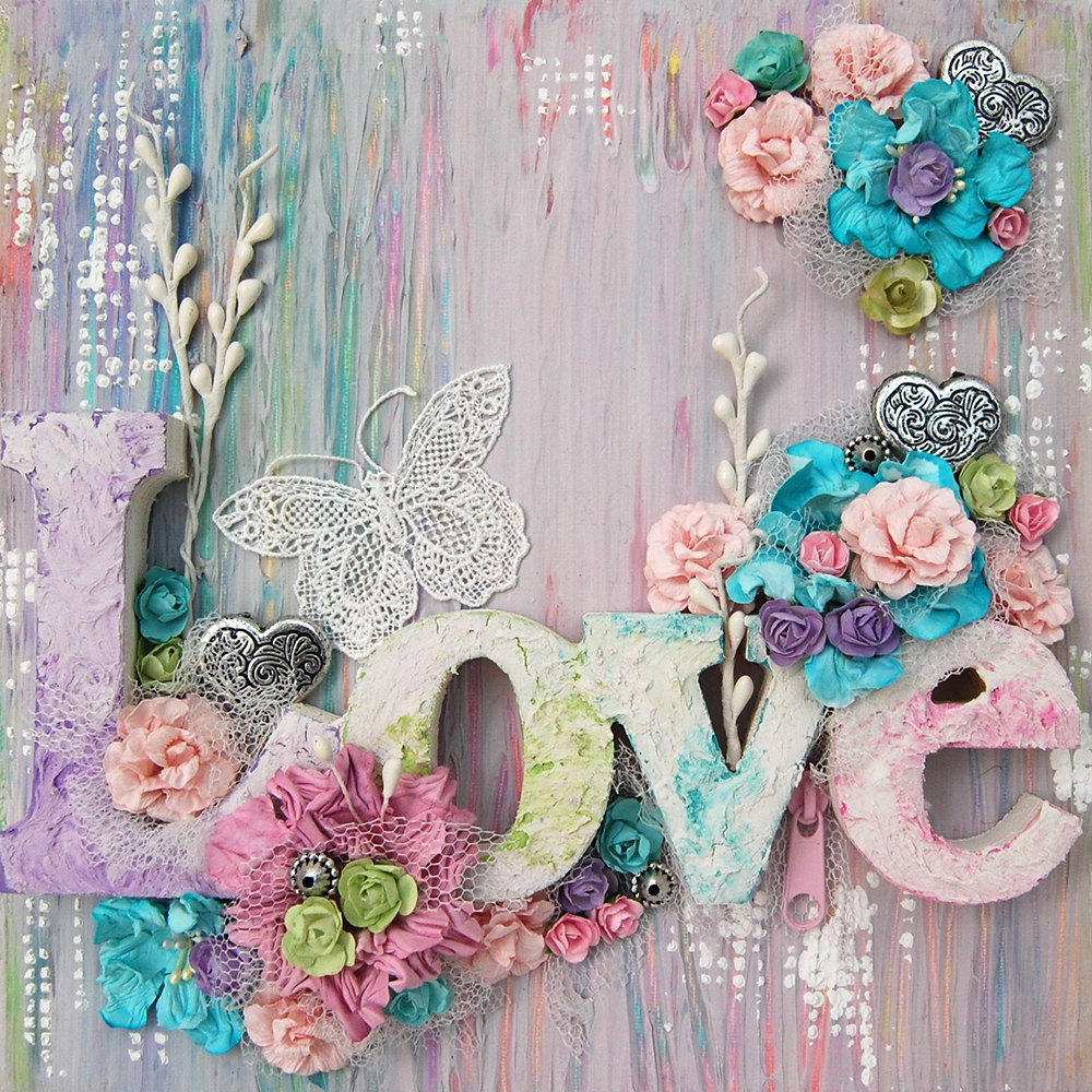 Diy Diamond Painting Cross Stitch Colorful Flowers Spelled Love Needlework Diamond Embroidery Full Round Mosaic Decoration Resin(China)