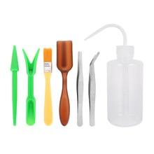 Mini conjunto de herramientas de mano para jardinería, herramientas de suculentas para transplantar, combinación de embalaje de flores, plantación en miniatura, 7 Uds.