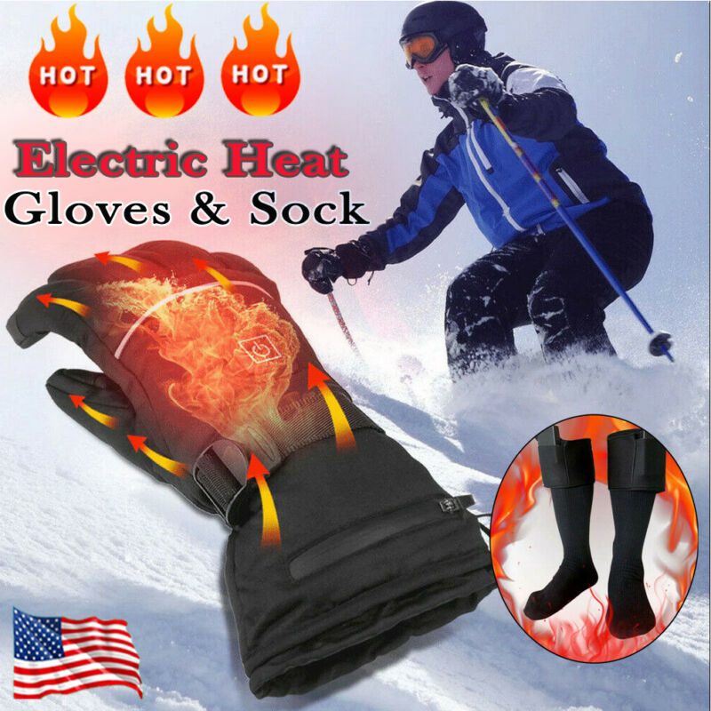 Winter Hand Warmer Electric Thermal Gloves Rechargeable Battery Heated Gloves Cycling Motorcycle Ski Gloves Climbing Skiing Sock