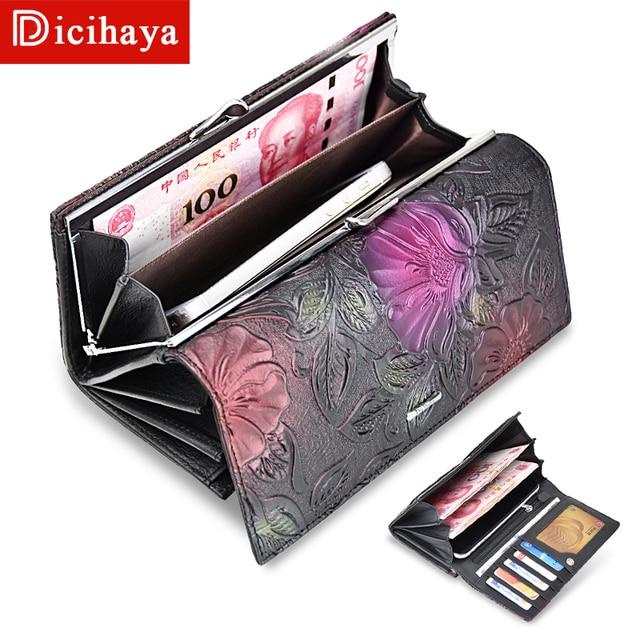 DICIHAYA New Arrive Ladies Wallets Leather Women Long Purse Flower Embossing Female Hasp Wallet Money Cards Purse Phone Bag