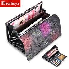 DICIHAYA חדש מגיע גבירותיי ארנקי עור נשים ארוך ארנק פרח הבלטות וו נשי ארנק כסף כרטיסי ארנק טלפון תיק