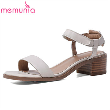 MEMUNIA 2020 hot women sandals top quality genuine leather shoes square heel vintage sandals comfortable casual shoes woman