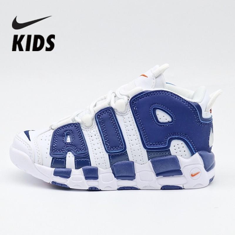 Nike Air More Uptempo  Kids Shoes Blue Air Cushion Serpentine Children Basketball Shoes 414962-105
