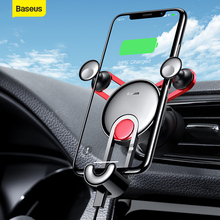 цена на Baseus Car Phone Holder With USB Charging Cable For iPhone  Xiaomi Car Auto Vent Car Charger Bracket Mount Car Magnetic Holder