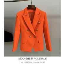 2019 Female Blazer Classic Double-breasted Lion Buckle Slim Suit Jacket Fluorescent Orange