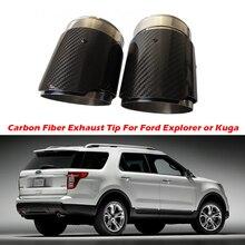 2PCS In Fibra di Carbonio di Scarico Suggerimento Per Ford Explorer Kuga Fuga In Fibra di Carbonio Punte Del Silenziatore di scarico Tubi di Scarico Auto AK Logo