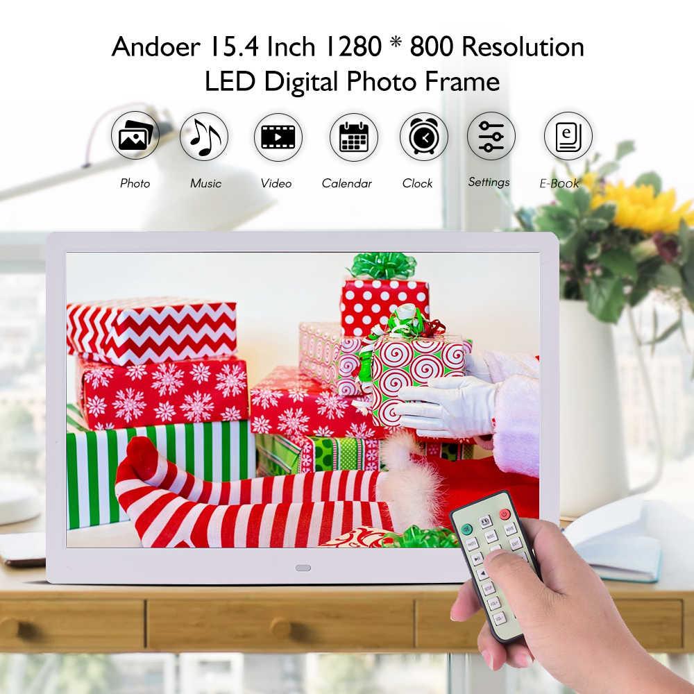"Andoer 15.4"" 1280*800 LED Digital Photo Frame Electronic Album Digitale Picture Frame Full Function Music Video Clock Calendar"