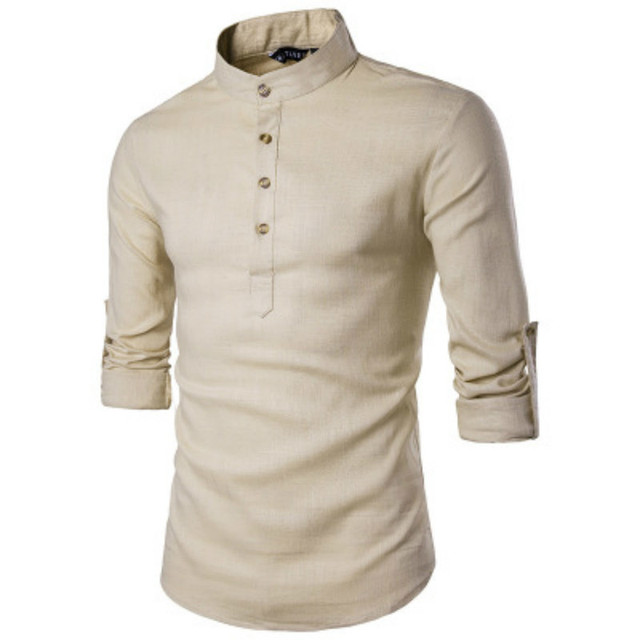ZOGAA Men Long Sleeve Clothing Shirts Men's Business Undershirt Mens Smart Casual Stand Collar Slim Pure Color Top Dress Shirts 2