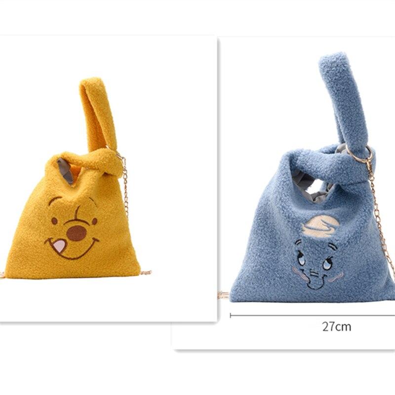 Cartoon Women Handbags Plush Shoulder Bag Cute Bear Face Embroidery  Hand Bag  Women Solid Color Ladies Bag Tote Metal Chain