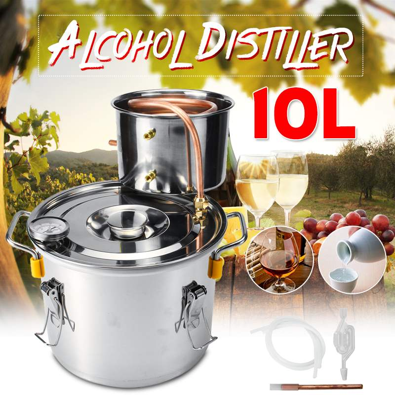 Efficient 2GAL/10L Distiller Moonshine Alcohol Distiller Stainless Copper DIY Home Water Wine Essential Oil Brewing Kit