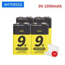 Bateria recarregável 1000mah do li íon da bateria 6f22 de usb 9v para o alarme de fumo do multímetro