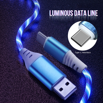 Cable USB tipo C Streamer cargador rápido iluminación USB C Cable cinta C Cable de carga rápida 3,0 Cable para Samsung Huawei Xiaomi