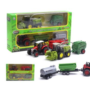 2Pcs 1/42 Kids Car Toy Diecast Tractor Harvester Farm Vehicle Car Model Kids Educational Toys For Kids Xmas Gift image