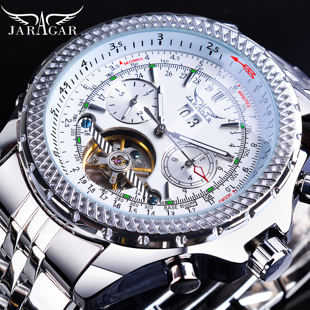 Купить jaragar летающая серия турбийон дизайн автоматические часы белый
