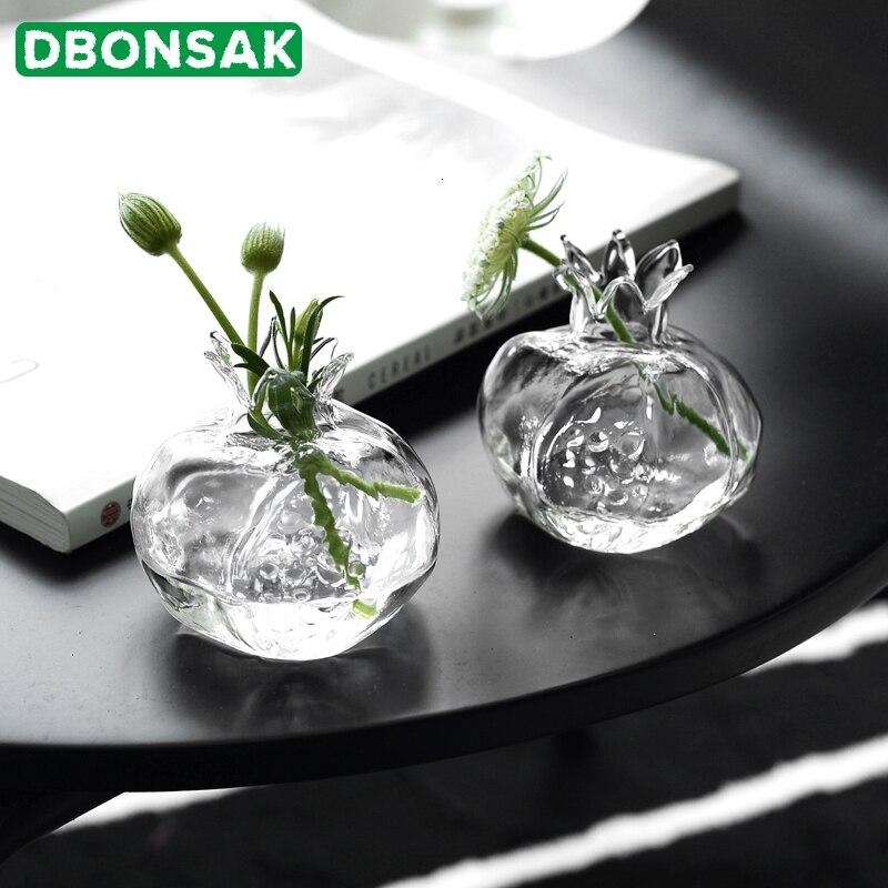 Mini Pomegranate Glass Vase Handmade Vase Transparent Glass Flower Pot Hydroponic Flower Arrangement Crafts Desktop Decoration