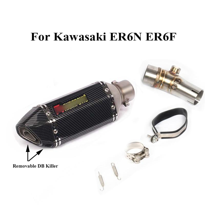 For Kawasaki ER6N ER6F 2012 2016 Motorcycle Exhaust Tip Muffler Connecting Tube Pipe Slip on ER6N ER6F|Exhaust & Exhaust Systems| |  -