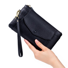 2020 Fashion Top Layer Genuine leather Wallet Women Long Purse Cell Phone Clutch Women Casual Hasp Dollar Price Wallet Handbag new fashion women wallets pu leather zipper wallet women s long purse two fold clutch card bag casual hasp dollar price wallet
