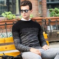 Suéter de lana merina de marca UCAK para hombre Otoño Invierno grueso cachemir pulóver hombres moda gradiente Color hombres suéter Pull Homme U3055