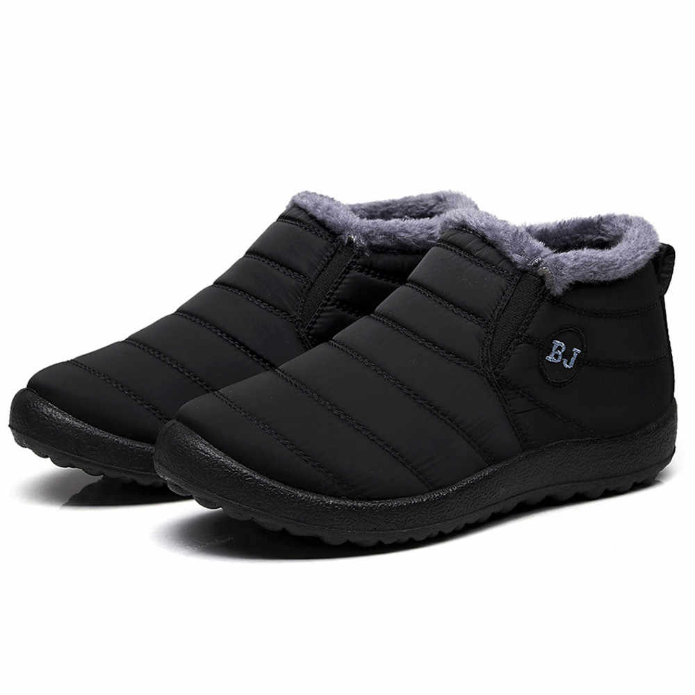 2019 Waterproof Women Winter Shoes Plus Size 45 Couple Snow Boots Warm Fur Inside Antiskid Bottom Keep Warm Mother Casual Boots