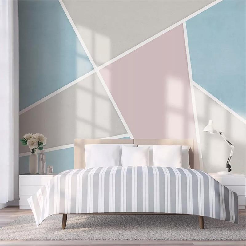 Custom Mural Wallpaper 3D Geometric Pattern Line Fresco Living Room Dining Room Waterproof Canvas Wall Painting Papel De Parede