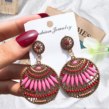 Indian Round Drop Earrings For Women Retro Hollow Drop Earring Bohemia Style Copper Earring  Alloy Gift Accessories