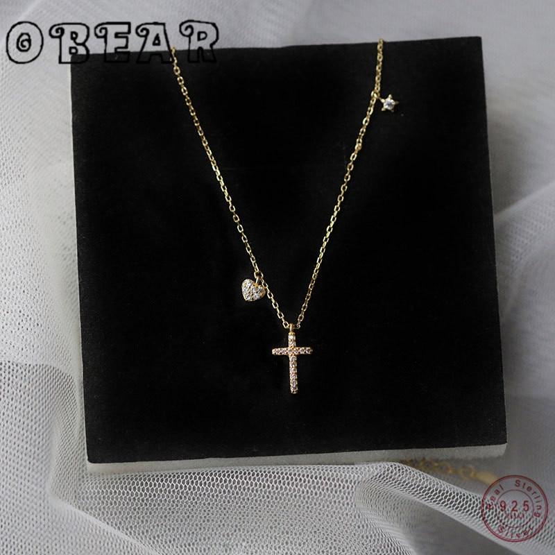 OBEAR 925 Sterling Silver Dangle Cross charm Pendant Heart-Shaped Star Micro Pave CZ Fine Women Chain Choker Cross Necklace