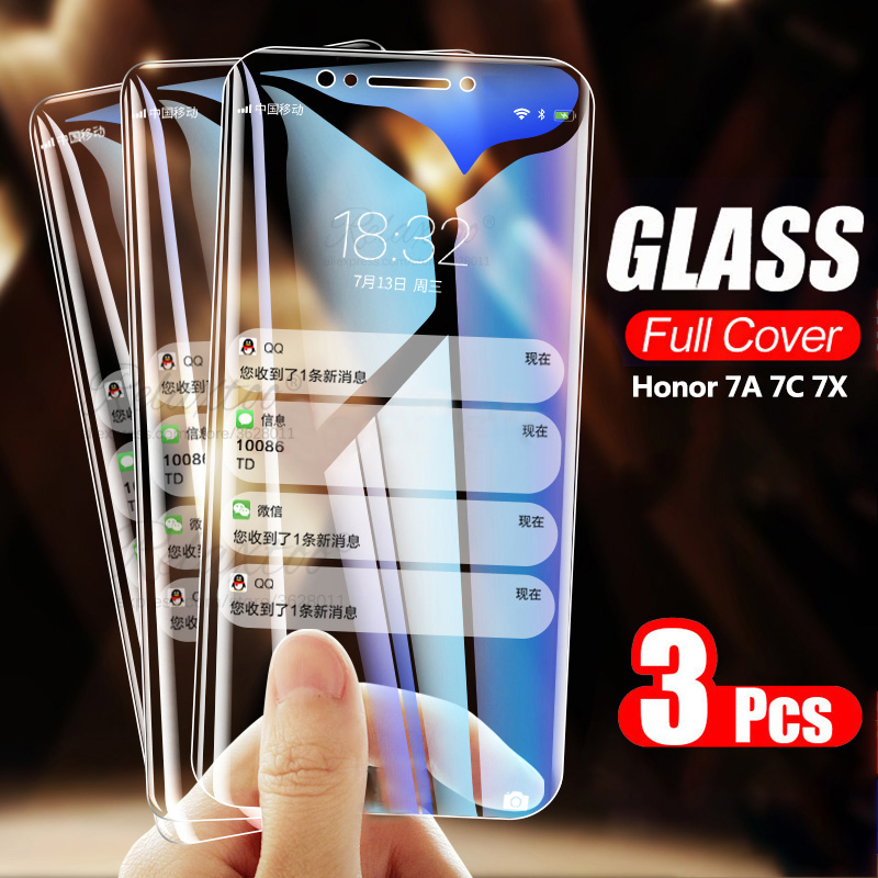 3PCS 9H Tempered Glass For Huawei Y5 Y6 Y7 Prime 2018 On Screen Protector Huawey Huavei Y 5 6 7 Prime 2018 Protective Film Glas