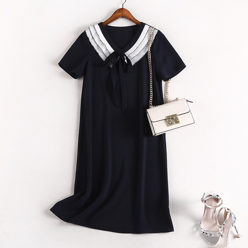 Lan Mu Square Fat Mm Summer Wear Casual Short Sleeve A- Line Skirt Sub-Large Size Dress Loose-Fit Slimming Chiffon Dress 10542